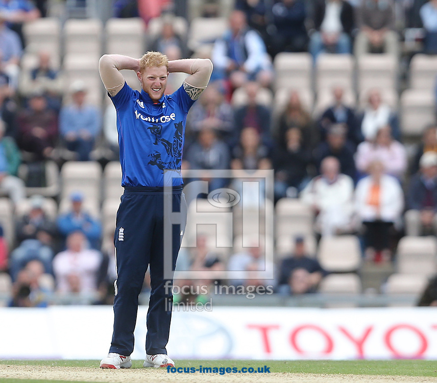 Ben Stokes of England looks on during the Royal London One Day Series match at the Ageas Bowl, West End<br /> Picture by Paul Terry/Focus Images Ltd +44 7545 642257<br /> 14/06/2015
