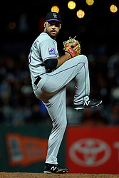SAN FRANCISCO, CA - SEPTEMBER 15: Harrison Musgrave #59 of the Colorado Rockies pitches against the San Francisco Giants during the eighth inning at AT&T Park on September 15, 2018 in San Francisco, California. The San Francisco Giants defeated the Colorado Rockies 3-0. (Photo by Jason O. Watson/Getty Images) *** Local Caption *** Harrison Musgrave