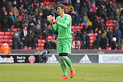 Castel Pantilimon of Nottingham Forest (1) applauds the fans after the game during the EFL Sky Bet Championship match between Sheffield United and Nottingham Forest at Bramall Lane, Sheffield, England on 17 March 2018. Picture by Mick Haynes.