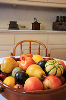 A bowl of fruit on display in a kitchen in Casa Mila, the Antoni Gaudi designed building in central Barcelona, Spain