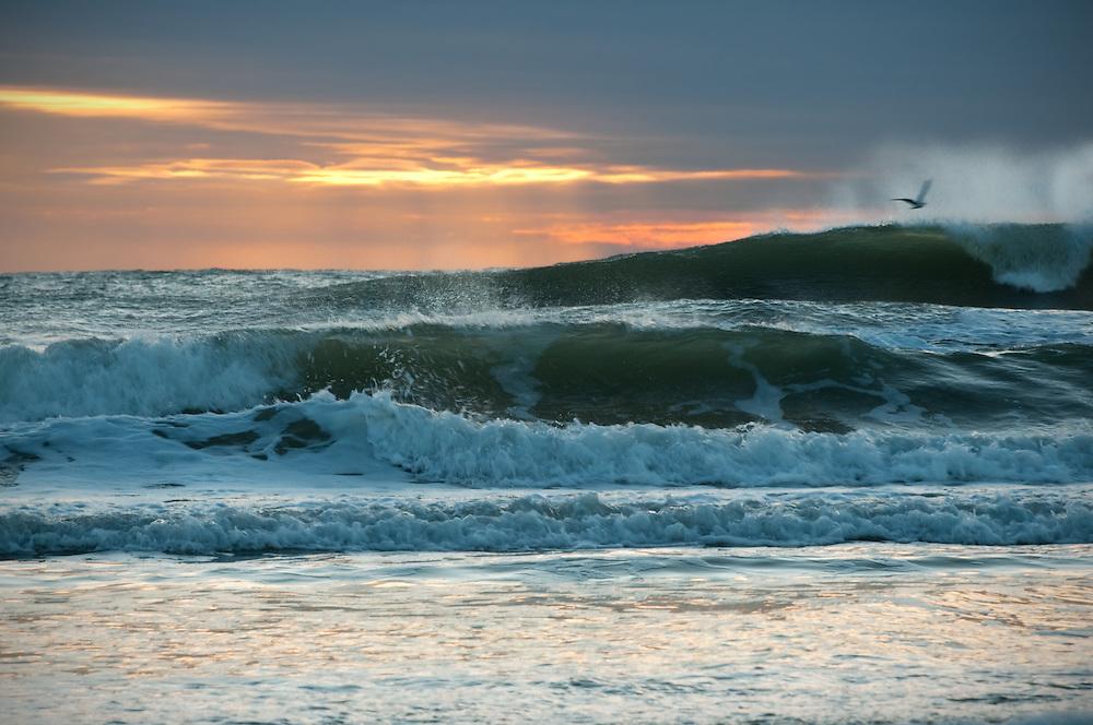 Sunrise at Hampton Beach, New Hampshire in winter.