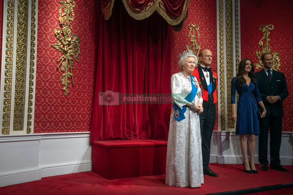 "The empty space left next to the figures of Queen Elizabeth II, the Duke of Edinburgh, and the Duke and Duchess of Cambridge, as Madame Tussauds London moved its figures of the Duke and Duchess of Sussex from its Royal Family set to elsewhere in the attraction, in the wake of the announcement that they will take a step back as ""senior members"" of the royal family, dividing their time between the UK and North America."