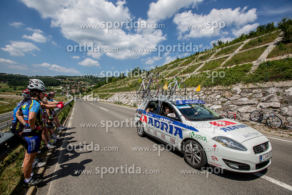 Car of Adria Mobil during Stage 4 from Skofja Loka to Novo Mesto (153 km) of cycling race 21st Tour of Slovenia, on June 22, 2014 in Slovenia. Photo By Urban Urbanc / Sportida