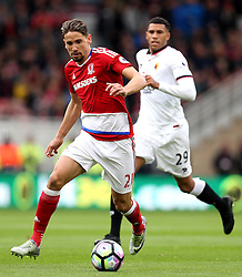 Gaston Ramirez of Middlesbrough runs with the ball away from Etienne Capoue of Watford - Mandatory by-line: Robbie Stephenson/JMP - 16/10/2016 - FOOTBALL - Riverside Stadium - Middlesbrough, England - Middlesbrough v Watford - Premier League