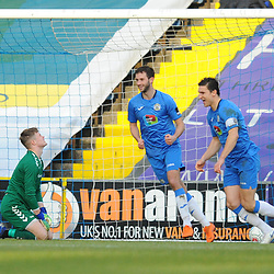 TELFORD COPYRIGHT MIKE SHERIDAN 16/2/2019 - GOAL. Josef Bursik of AFC Telford (on loan from Stoke City) reacts after Matthew Warburton's free kick squirms through his fingers during the Vanarama Conference North fixture between Stockport County and AFC Telford United at Edgeley Park