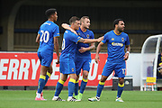 AFC Wimbledon Cody McDonald (10) celebrating after scoring goal to make it 2-0 during the Pre-Season Friendly match between AFC Wimbledon and Burton Albion at the Cherry Red Records Stadium, Kingston, England on 21 July 2017. Photo by Matthew Redman.