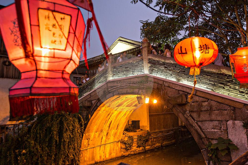 Tong Gui Bridge at night along Shantang canal in Suzhou, China.