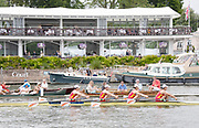 Henley on Thames, England, United Kingdom 6th July 2019, Henley Royal Regatta  Semi Final Princess Grace Challenge Cup, Chiese National Rowing Team. Women's Quadruple Sculls CHNW4X,  Henley Reach, [© Peter SPURRIER/Intersport Image]<br /> <br /> 14:07:33 1919 - 2019, Royal Henley Peace Regatta Centenary,