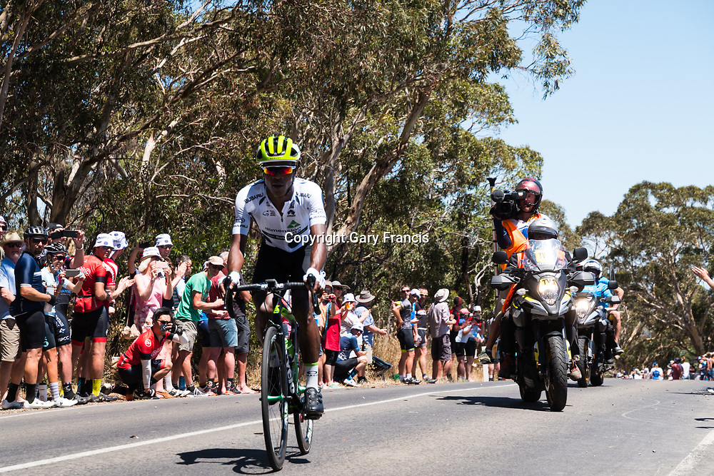 Nicolas Dlamini, King of the Mountain leader take another KOM in Stage 3, Glenelg to Victor Harbor, of the Tour Down Under, Australia on the 18 of January 2018 ( Credit Image: © Gary Francis / ZUMA WIRE SERVICE )