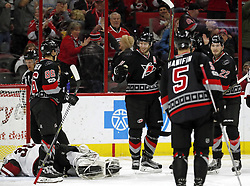 March 3, 2017 - Raleigh, NC, USA - The Canes Jordan Staal (11) celebrates his goal with Teuvo Teravainen (86), Noah Hanifin (5) and Brett Pesce (22) after he scored against the Arizona Coyotes' Louis Domingue (35) during the second period of an NHL game played between the Carolina Hurricanes and the Arizona Coyotes at PNC Arena on March 3, 2017 in Raleigh, N.C. (Credit Image: © Chris Seward/TNS via ZUMA Wire)