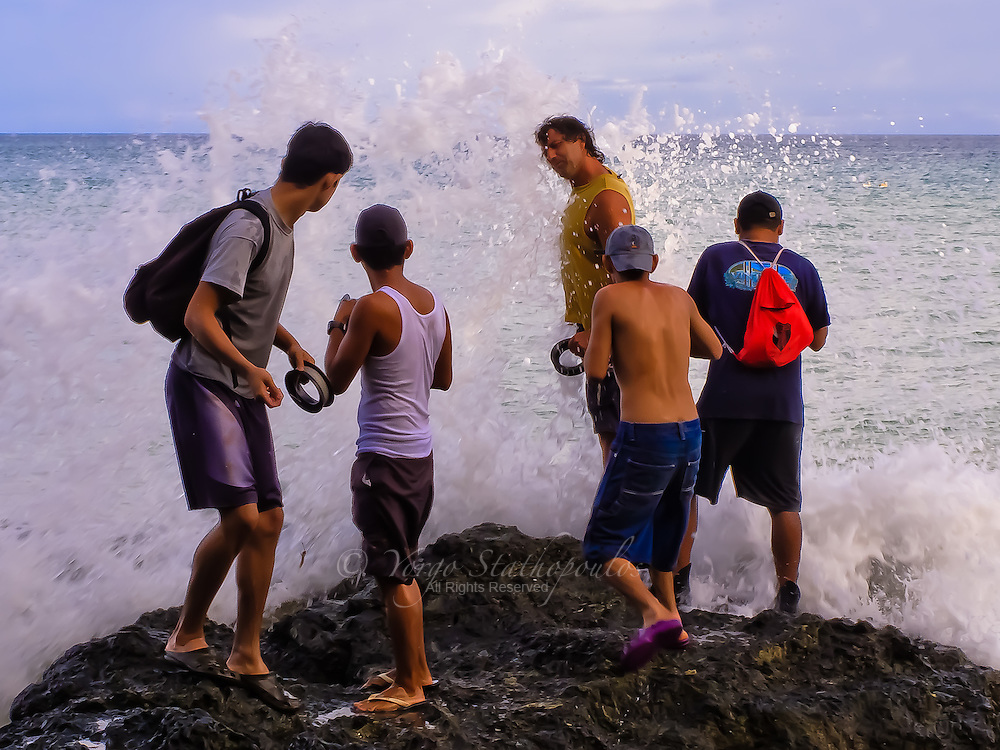 Certain times of the year, when fish come close to the shore, Costa Ricans gather and fish for their families. Of course sometimes you get a little wet.