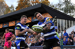 Matt Banahan of Bath Rugby celebrates scoring a try - Photo mandatory by-line: Patrick Khachfe/JMP - Mobile: 07966 386802 01/11/2014 - SPORT - RUGBY UNION - Bath - The Recreation Ground - Bath Rugby v London Welsh - LV= Cup