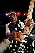 Guitar legend Buddy Guy on the stage at his Chicago blues club, Buddy Guy's Legends. The five-time Grammy-winning, Rock and Roll Hall of Fame inductee shows no signs of slowing down at age 70.