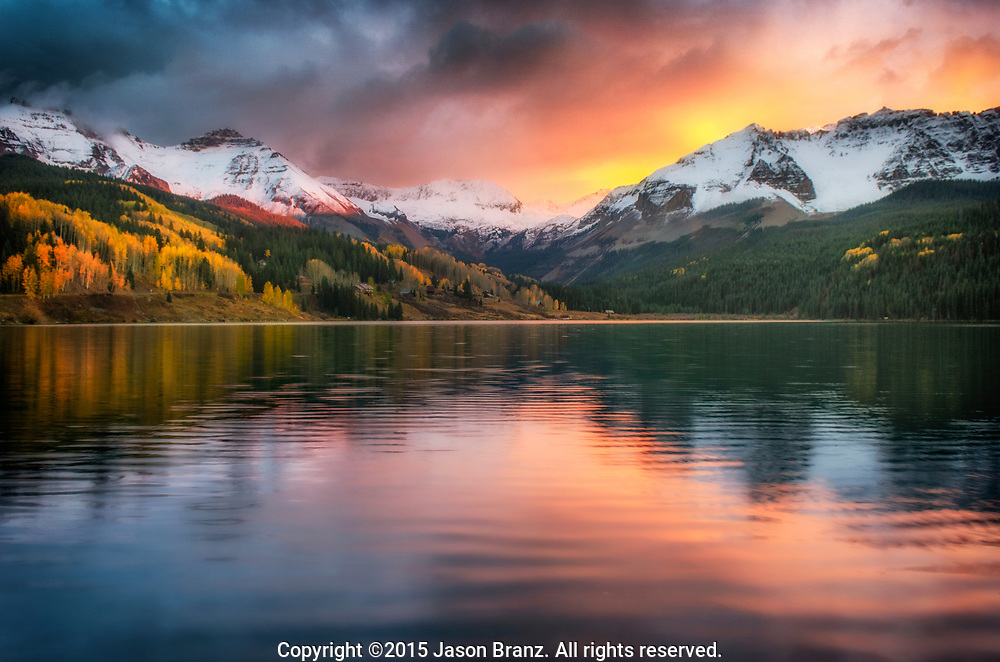 Autumn sunset at Trout Lake near Telluride, Colorado.