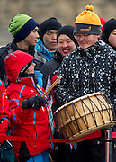 Athlete with intellectual disability plays on korean drum while medal ceremony after Finals of Cross Country 2500 meters Race during 2013 Special Olympics World Winter Games PyeongChang at Cross Country Skiing Venue on February 5, 2013...South Korea, PyeongChang, February 5, 2013..Picture also available in RAW (NEF) or TIFF format on special request...For editorial use only. Any commercial or promotional use requires permission...Photo by © Adam Nurkiewicz / Mediasport