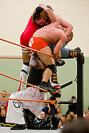 """From top, JB Cool, Joey Mayberry, Chico Adams and Monstar (Zacky Taylor) all wrestle during the finale match at Championship Wrestling Entertainment's Live Pro Wrestling event at the Port St. Lucie Civic Center on Friday, May 15, 2015. CWE is a local """"indie"""" wrestling company headquartered in Port St. Lucie. (XAVIER MASCAREÑAS/TREASURE COAST NEWSPAPERS)"""
