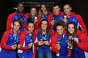 French team Mehdy Metella, Marie Wattel, Fantine Lesaffre, Maxime Grousset, Jeremy Stravius, Margaux Fabre, Assia Touati, Charlotte Bonnet, Anouchka Martin, Beryl Gastaldello pose with the medal during the Swimming European Championships Glasgow 2018, at Tollcross International Swimming Centre, in Glasgow, Great Britain, Day 8, on August 9, 2018 - Photo Stephane Kempinaire / KMSP / ProSportsImages / DPPI