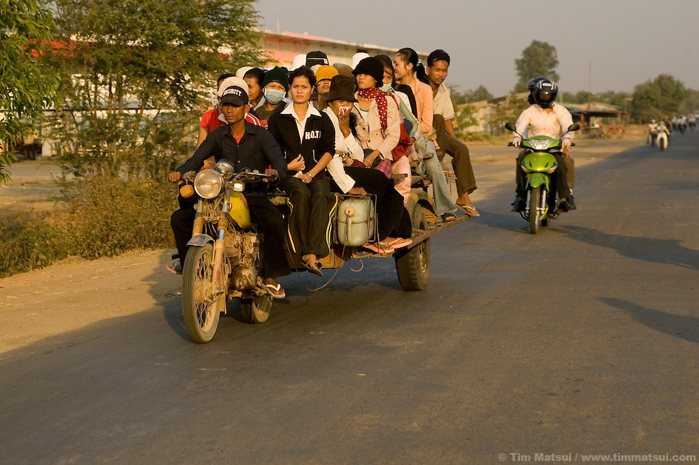 Traffic on the roads in and near Phnom Penh, Cambodia.