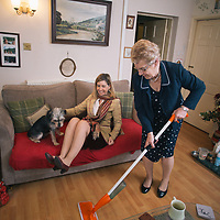 10/12/15 Pontefract, West Yorkshire - MP for Morley and Outwood , Andrea Jenkyns with her mother Valerie and dogs Lady and Godiva - and Molly and Sam at her mothers home near Pontefract.