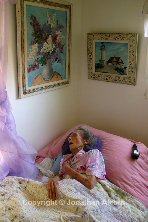 Sleeping in a nicely furnished bedroom at a home converted into a live-in residence for Alzheimers and dementia related  patients.