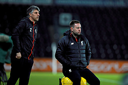 DERBY, ENGLAND - Monday, November 28, 2016: Liverpool's manager Michael Beale and coach Mike Garrity during the FA Premier League 2 Under-23 match against Derby County at Pride Park. (Pic by David Rawcliffe/Propaganda)