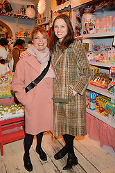 LONDON, ENGLAND 1 DECEMBER 2016:Left to right, Janet Ellis, Sophie Ellis-Bextor at the 10th birthday party for the toy shop HoneyJam, 2 Blenheim Crescent, Notting Hill, London, England. 1 December 2016.