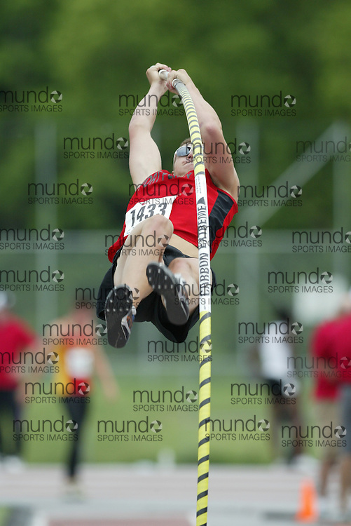 (London, Ontario}---05 June 2010) Luke Durward of Port Perry - Port Perry  competes in the senior boys pole vault at the 2010 OFSAA Ontario High School Track and Field Championships in London, Ontario,  June 05, 2010. Photograph copyright Sean Burges / Mundo Sport Images, 2010.