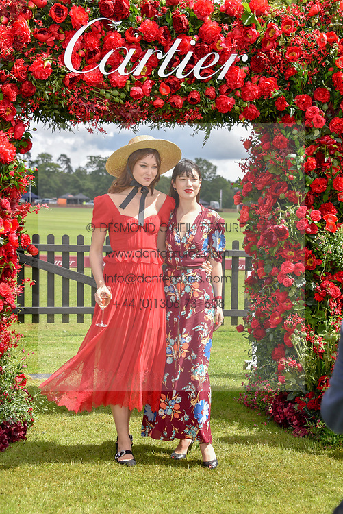 Martine Lervik and Eloise Chong-Gargette at the Cartier Queen's Cup Polo 2019 held at Guards Polo Club, Windsor, Berkshire. UK 16 June 2019. <br /> <br /> Photo by Dominic O'Neill/Desmond O'Neill Features Ltd.  +44(0)7092 235465  www.donfeatures.com