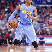 15 April 2014: Denver Nuggets guard Randy Foye (4) is seen during the Los Angeles Clippers 117-105 victory over the Denver Nuggets at the Staples Center, Los Angeles, California, USA.