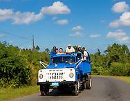 Truck hauling people near Minas de Matahambre in Pinar del Rio, Cuba.