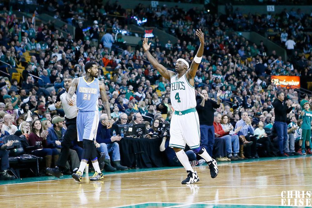 10 February 2013: Boston Celtics shooting guard Jason Terry (4) celebrates during the Boston Celtics 118-114 3OT victory over the Denver Nuggets at the TD Garden, Boston, Massachusetts, USA.