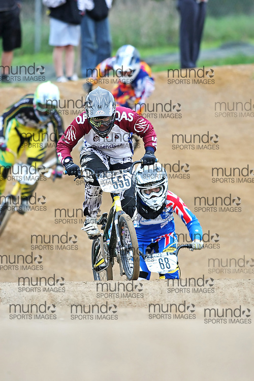 (Canberra, Australia---03 March 2012) Melinda Mcleod of Queensland competing in stage 5 of the BMX Australia Probikx Elite Women series at the Melba BMX Track in Canberra, Australia. Photograph 2012 Copyright Sean Burges / Mundo Sport Images. For reproduction rights and information in Australia, contact seanburges@yahoo.com. For information elsewhere contact info@mundosportimages.com.
