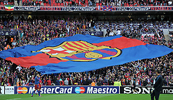 FUSSBALL      CHAMPIONSLEAGUE  FINALE     SAISON 2010/2011  28.05.2011 FC Barcelona - Manchester United FC  Champions League Sieger 2011:  FC Barcelona  feiert den Sieg Barca Fans mit einem Grossen Banner in der Fankurve mit LOGO