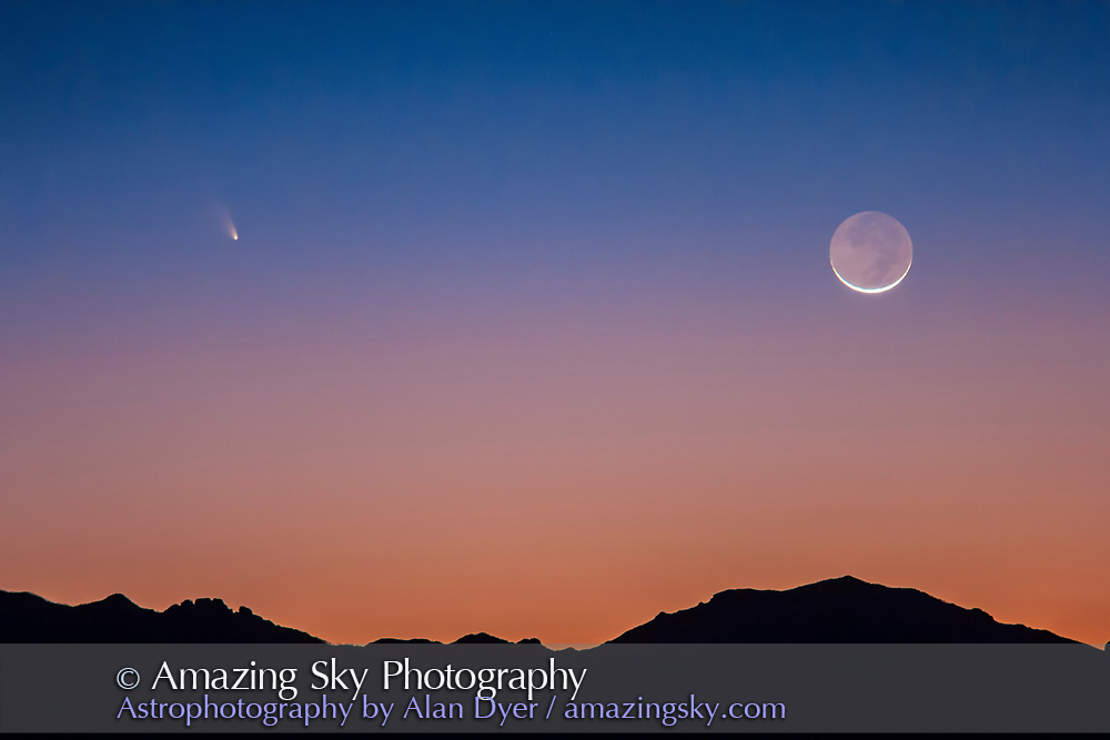 Comet PANSTARRS C/2011 L4 and the thin waxing Moon, March 12, 2013, over the Chiricahua Mountains, in Arizona, but seen from New Mexico, from a site on Highway 80 north of the Painted Pony Resort. A 0.3s exposure at f/2.8 and ISO 640 with the Canon 60Da and 135mm telephoto + 1.4x Extender.