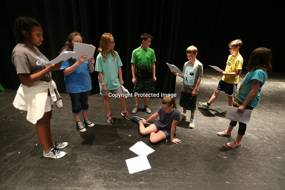 "Area children practice their lines for the play ""Invisible Eye for the Nerd Guy"", at Pied Piper Players Theater Camp Wednesday morning at Tupelo High School."