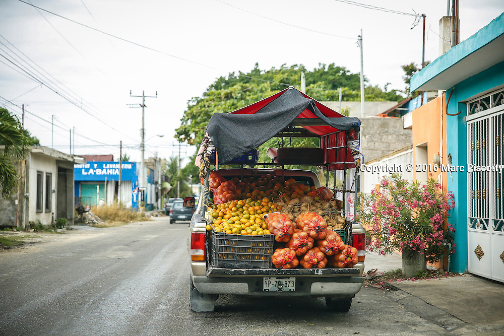 SHOT 12/10/16 9:07:18 AM - A variety of fruits and jicama for sale on the streets of Tulum, Mexico. Tulum is located in the Mayan Riviera and along the east coast of the Yucatán Peninsula on the Caribbean Sea in the state of Quintana Roo, Mexico. (Photo by Marc Piscotty / © 2016)