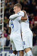 England midfielder Raheem Sterling and Jamie Vardy celebrate the second goal during the Group E UEFA European 2016 Qualifier match between England and Estonia at Wembley Stadium, London, England on 9 October 2015. Photo by Alan Franklin.