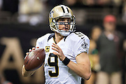 NEW ORLEANS, LA - SEPTEMBER 20:  Drew Brees #9 of the New Orleans Saints drops back to pass during a game against the Tampa Bay Buccaneers at Mercedes-Benz Superdome on September 20, 2015 in New Orleans Louisiana.  The Buccaneers defeated the Saints 26-19.  (Photo by Wesley Hitt/Getty Images) *** Local Caption *** Drew Brees