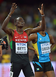 25-08-2015 CHN: IAAF World Championships Athletics day 4, Beijing<br /> Nicholas Bett KEN winning the 400m hurdles<br /> Photo by Ronald Hoogendoorn / Sportida
