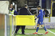 AFC Wimbledon attacker Harry Forrester (11) red card, sent off during the EFL Sky Bet League 1 match between AFC Wimbledon and Wigan Athletic at the Cherry Red Records Stadium, Kingston, England on 16 December 2017. Photo by Matthew Redman.