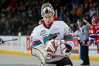 KELOWNA, CANADA - FEBRUARY 5: Brodan Salmond #31 of Kelowna Rockets skates to the net against the Spokane Chiefs on February 5, 2016 at Prospera Place in Kelowna, British Columbia, Canada.  (Photo by Marissa Baecker/Shoot the Breeze)  *** Local Caption *** Brodan Salmond;