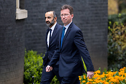 © Licensed to London News Pictures. 12/04/2018. London, UK. Attorney General Jeremy Wright QC (right) arriving in Downing Street to attend a 'War Cabinet' meeting this afternoon. Discussion is expected on Britain's involvement on military action in Syria, following a suspected chemical attack. Photo credit : Tom Nicholson/LNP