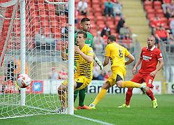 Tom Lockyer of Bristol Rovers shows his frustration at a near miss - Mandatory byline: Neil Brookman/JMP - 07966386802 - 29/08/2015 - FOOTBALL - Matchroom Stadium -Leyton,England - Leyton Orient v Bristol Rovers - Sky Bet League Two