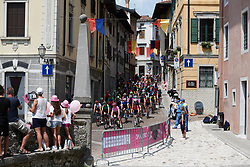 The peloton make their way through the narrow streets of Gemona during Stage 9 of 2019 Giro Rosa Iccrea, a 125.5 km road race from Gemona to Chiusaforte, Italy on July 13, 2019. Photo by Sean Robinson/velofocus.com
