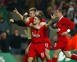 CARDIFF, WALES - Sunday, March 2, 2003: Liverpool's Michael Owen celebrates scoring the second goal against Manchester United with team-mate Danny Murphy and Igor Biscan during the Football League Cup Final at the Millennium Stadium. (Pic by David Rawcliffe/Propaganda)