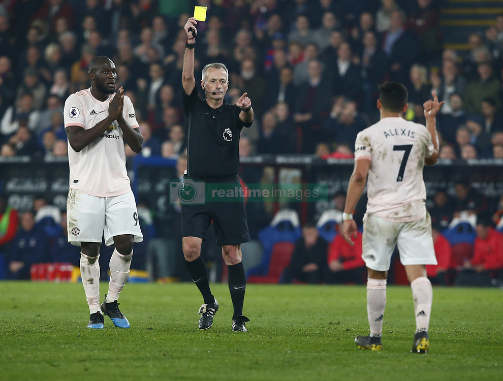 February 27, 2019 - London, England, United Kingdom - Manchester United's Alexis Sanchez gets a yellow card.during English Premier League between Crystal Palace and Manchester  United at Selhurst Park stadium , London, England on 27 Feb 2019. (Credit Image: © Action Foto Sport/NurPhoto via ZUMA Press)