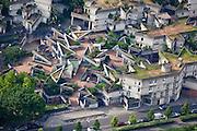 Ivry-sur-Seine, département du Val-de-Marne (94), centre-ville, roof decks linked by multi level access path from street level.