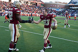 November 20, 2010; Chestnut Hill, MA, USA;  Boston College Eagles wide receiver Alex Amidon (83) celebrates with linebacker Kevin Pierre-Louis (32) after the game against the Virginia Cavaliers at Alumni Stadium.  Boston College defeated Virginia 17-13.