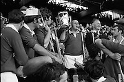 06/09/1970<br /> 09/06/1970<br /> 6 September 1970<br /> All-Ireland Senior Hurling Final: Cork v Wexford at Croke Park, Dublin. <br /> <br /> Cork Captain, Paddy Barry, with the cup which was presented by Mr. F. O'Fainin, President of the G.A.A.