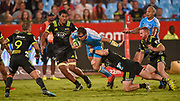 TJ Perenara of the Hurricanes, Burger Odendaal(c) of the Bulls and Ricky Riccitelli of the Hurricanes during the 2018 Super Rugby game between the Bulls and the Hurricanes at Loftus Versveld, Pretoria on 24 February 2018.<br /> Copyright photo: Christiaan Kotze/BackpagePix / www.photosport.nz